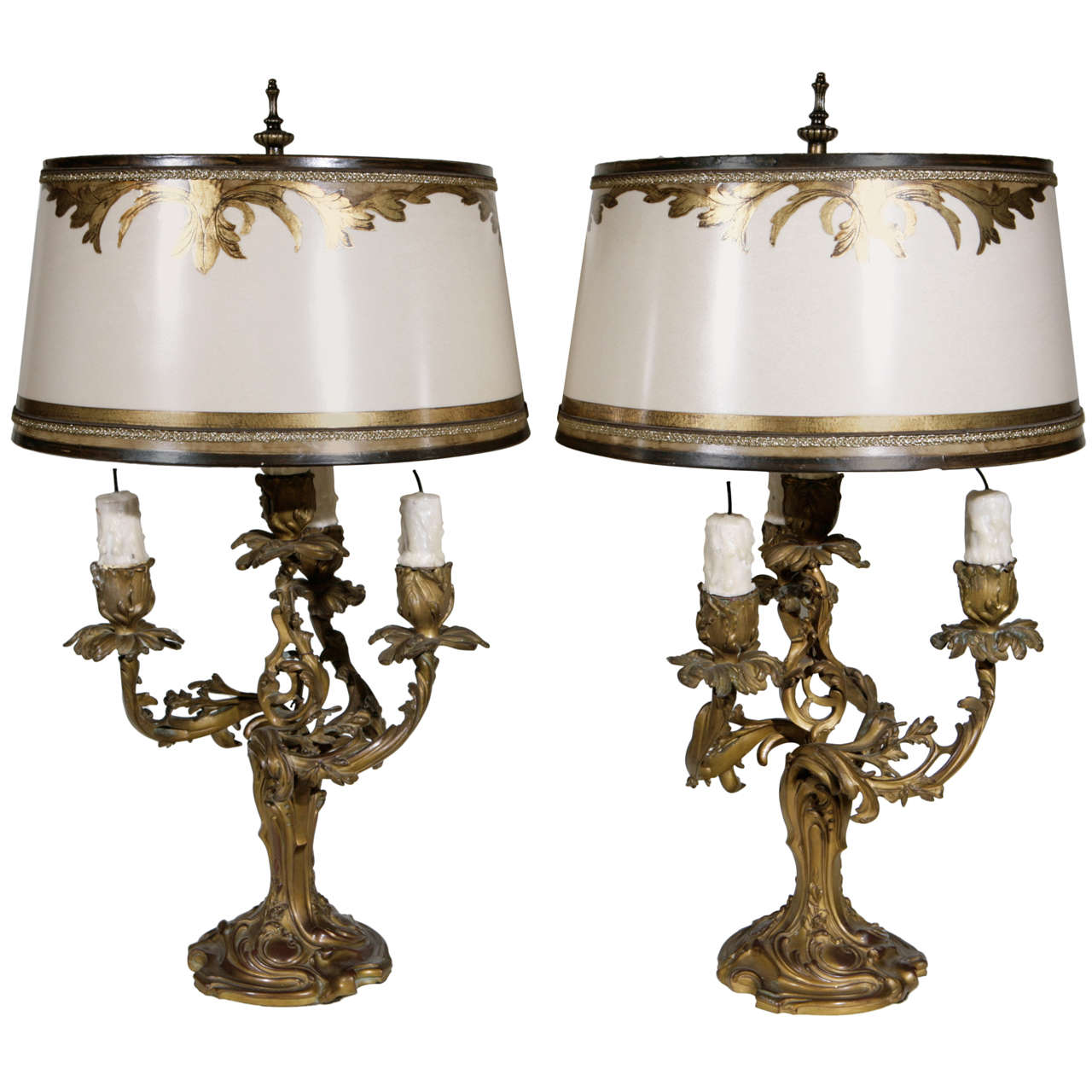 Pair Of 19th C French 3 Arm Dore Bronze Candelabra Lamps For Sale
