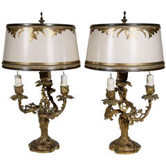 Pair of 19th c. French 3 Arm Dore Bronze Candelabra Lamps
