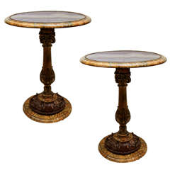 Pair of Early 1900s Italian Carved Giltwood Round Tables