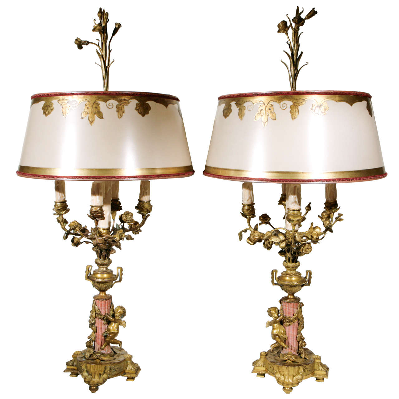 Pair of 19th Century French Bronze and Coral Marble Candelabra Lamps