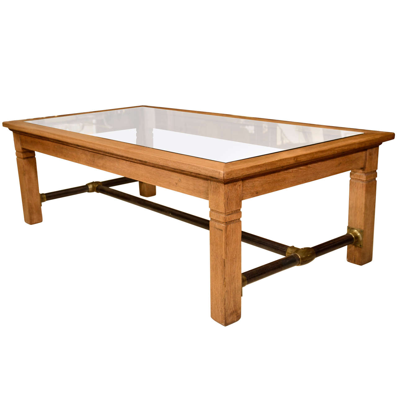 Oak And Glass Coffee Table At 1stdibs