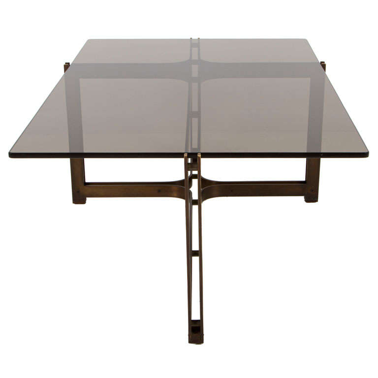 Smoked Glass Top Cocktail Table by Roger Sprunger for Dunbar
