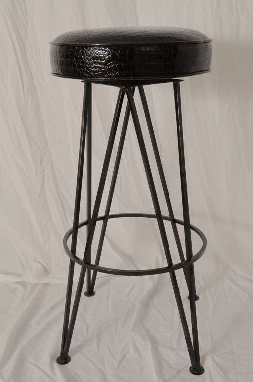 Iron Black Moc Croc Bar Stools For Sale At 1stdibs