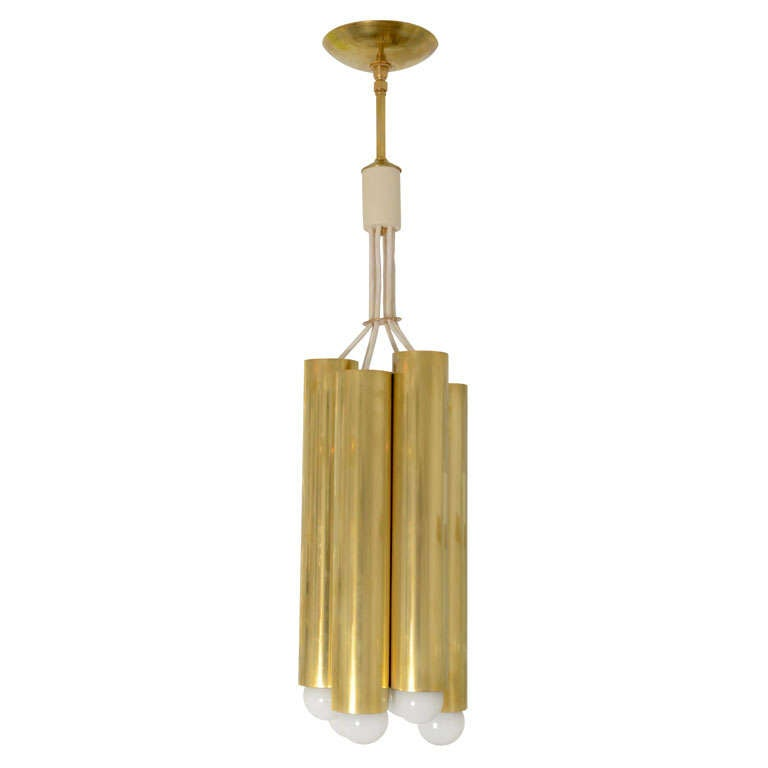 Pendant Ceiling Fixture Composed of Six Clustered Brass Tubes