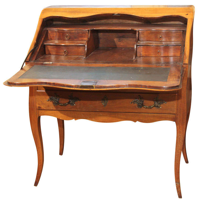 Small French Drop Front Desk With Parquetry Detail At 1stdibs