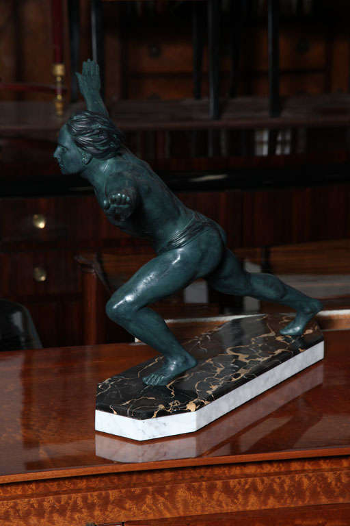 French Art Deco Sculpture Athlete Signed Quot Azori Quot At 1stdibs