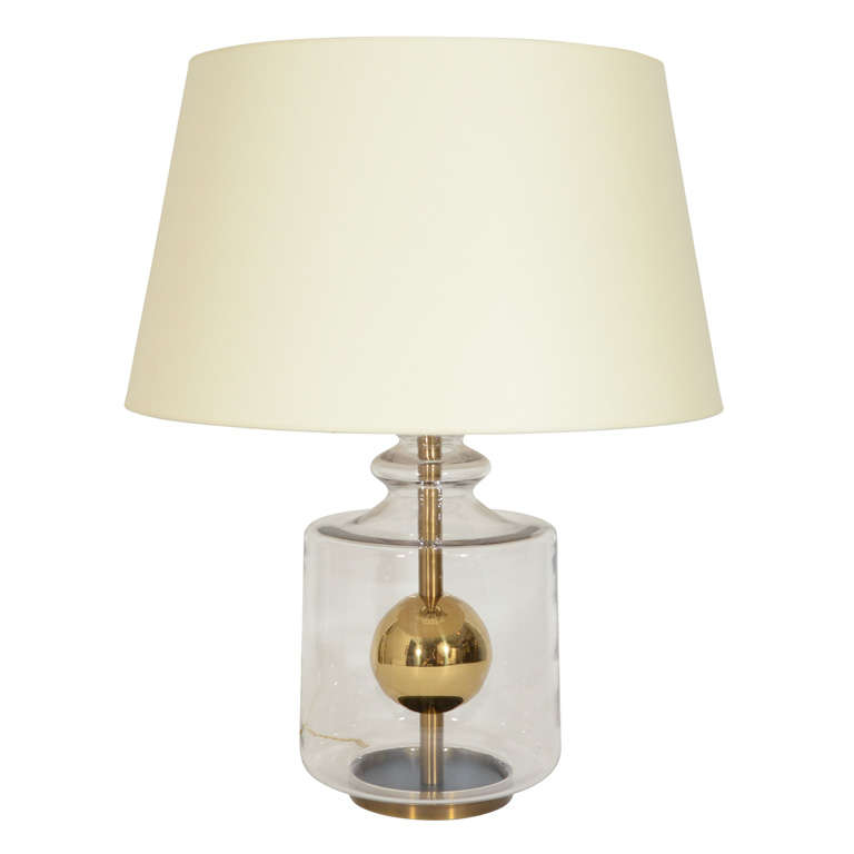 Glass Lamp With Brass Sphere At 1stdibs