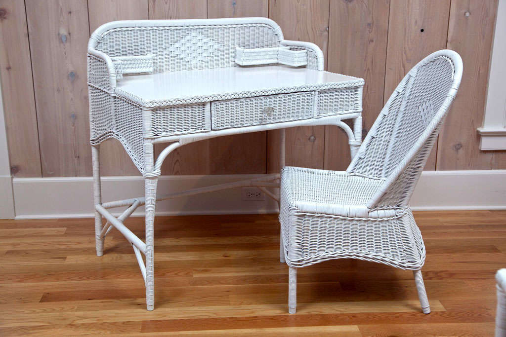 Beautiful matching deco Wicker desk and chair in tightly woven reed.  Matches separately listed sofa - Antique Deco Wicker Desk And Chair For Sale At 1stdibs