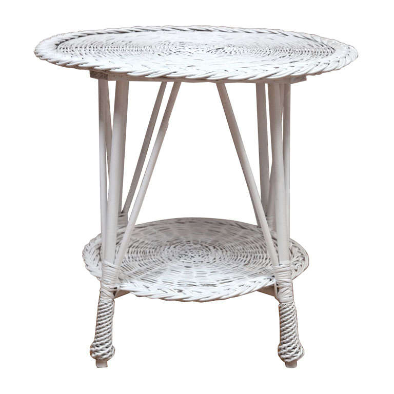 round wicker table for sale at 1stdibs. Black Bedroom Furniture Sets. Home Design Ideas