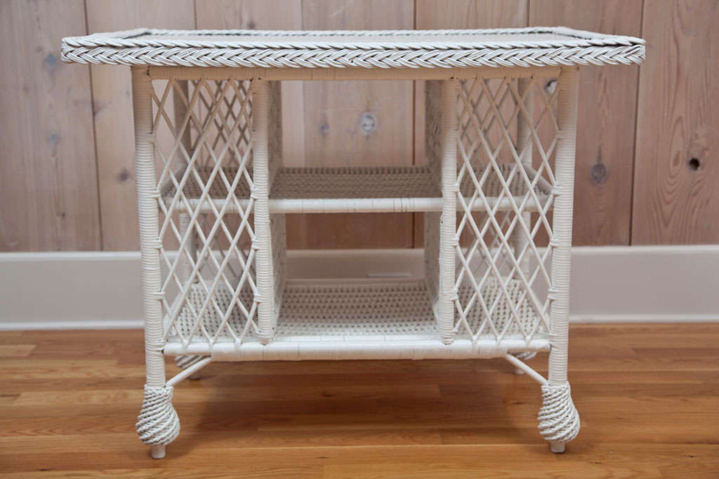 Antique Wicker Library Table At 1stdibs