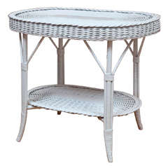 Oblong Wicker Table with Woven Lower Shelf