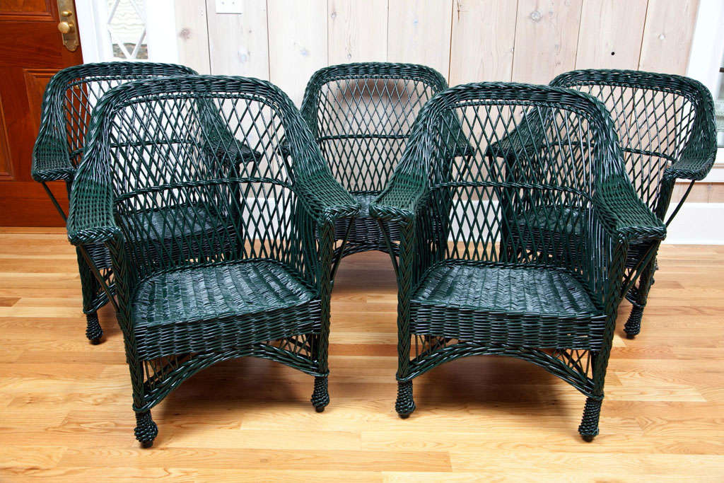 Three Matching Bar Harbor Wicker Chairs With Woven Seats In Dark Green Paint Dimensions 34 5