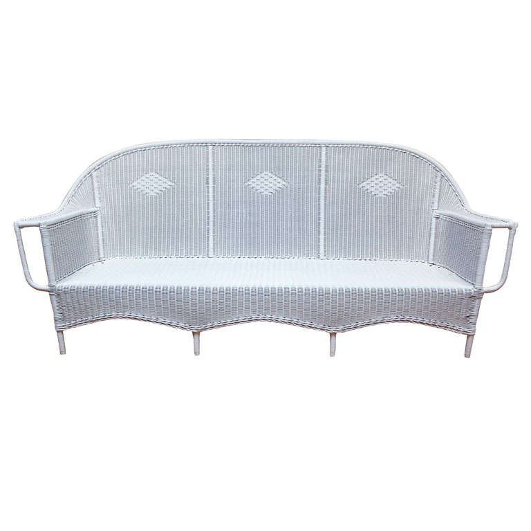 Deco wicker sofa for sale at 1stdibs for Long couches for sale