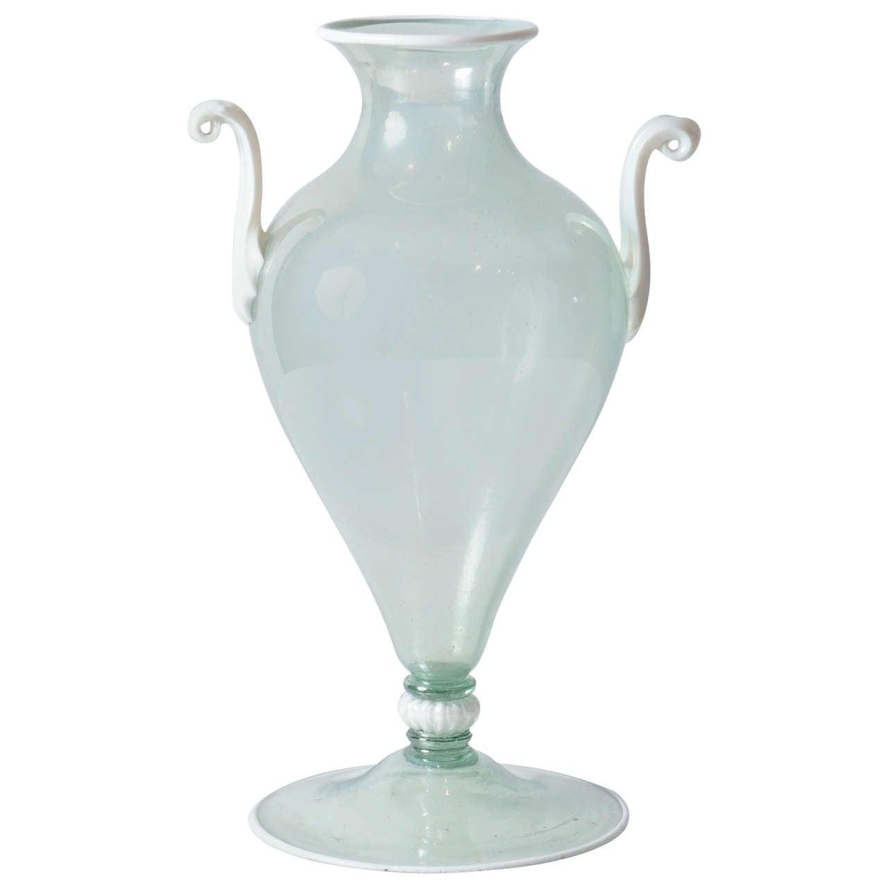 Beautiful Double Handled Pale Blue Murano Vase