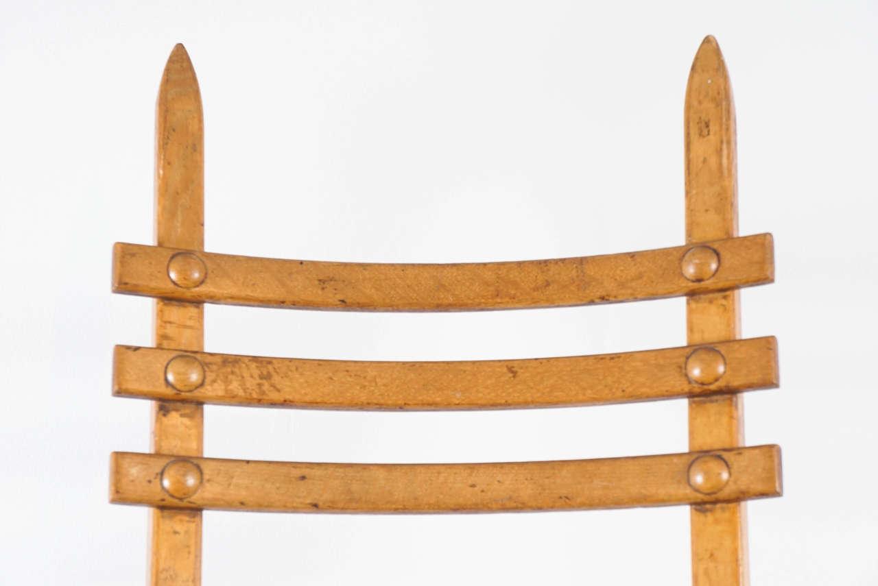 Art Nouveau Interesting Austrian Turn of the Century Ladderback Chair For Sale