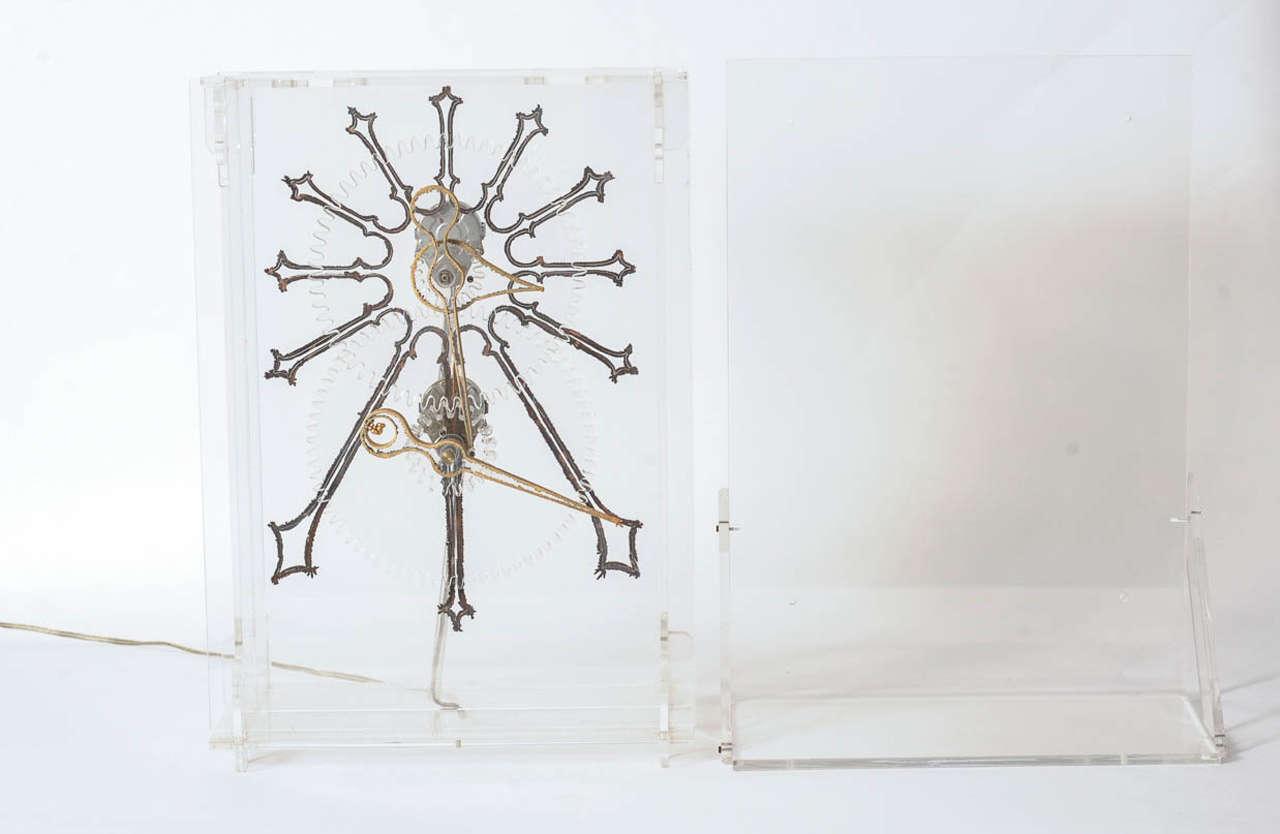 French Very Rare Mid-Century Modern Plexiglass XXL Table Clock by Boris Tabacoff For Sale