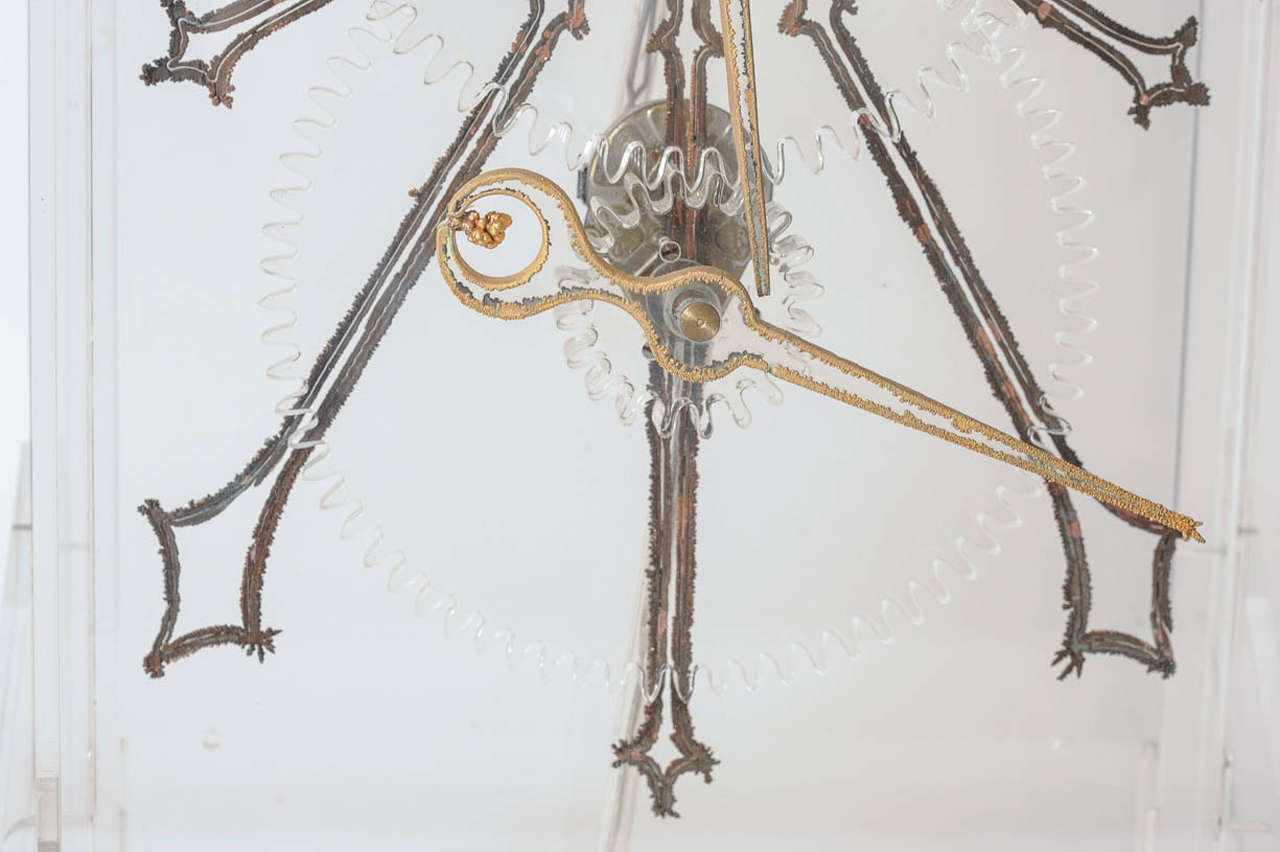 Late 20th Century Very Rare Mid-Century Modern Plexiglass XXL Table Clock by Boris Tabacoff For Sale
