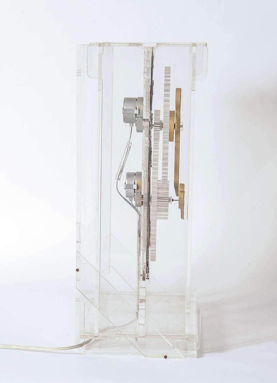 Very Rare Mid-Century Modern Plexiglass XXL Table Clock by Boris Tabacoff For Sale 2