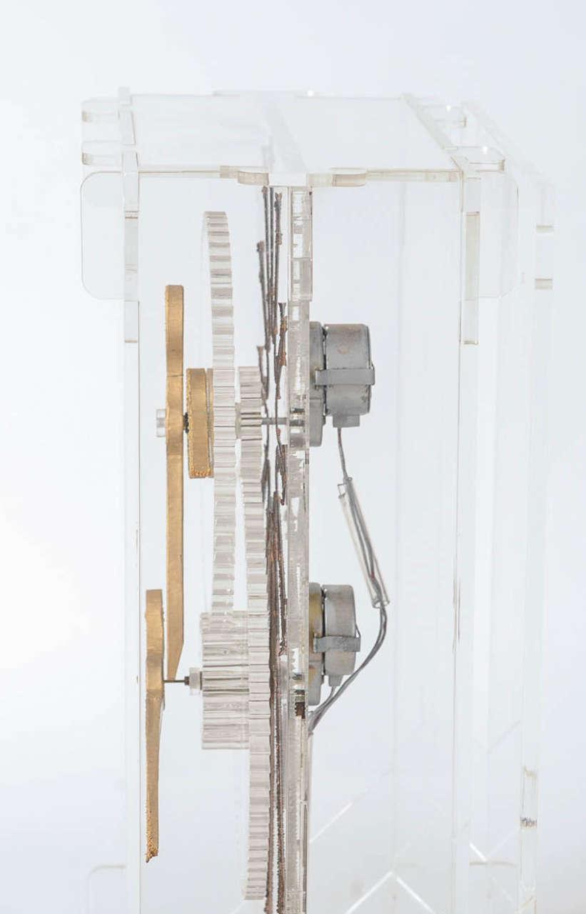 Very Rare Mid-Century Modern Plexiglass XXL Table Clock by Boris Tabacoff For Sale 5