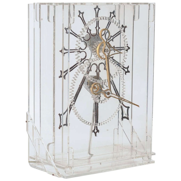 Very Rare Mid-Century Modern Plexiglass XXL Table Clock by Boris Tabacoff For Sale