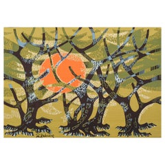 Mid-Century Tapestry L'Oliveraie created by French Artist Robert Debiève