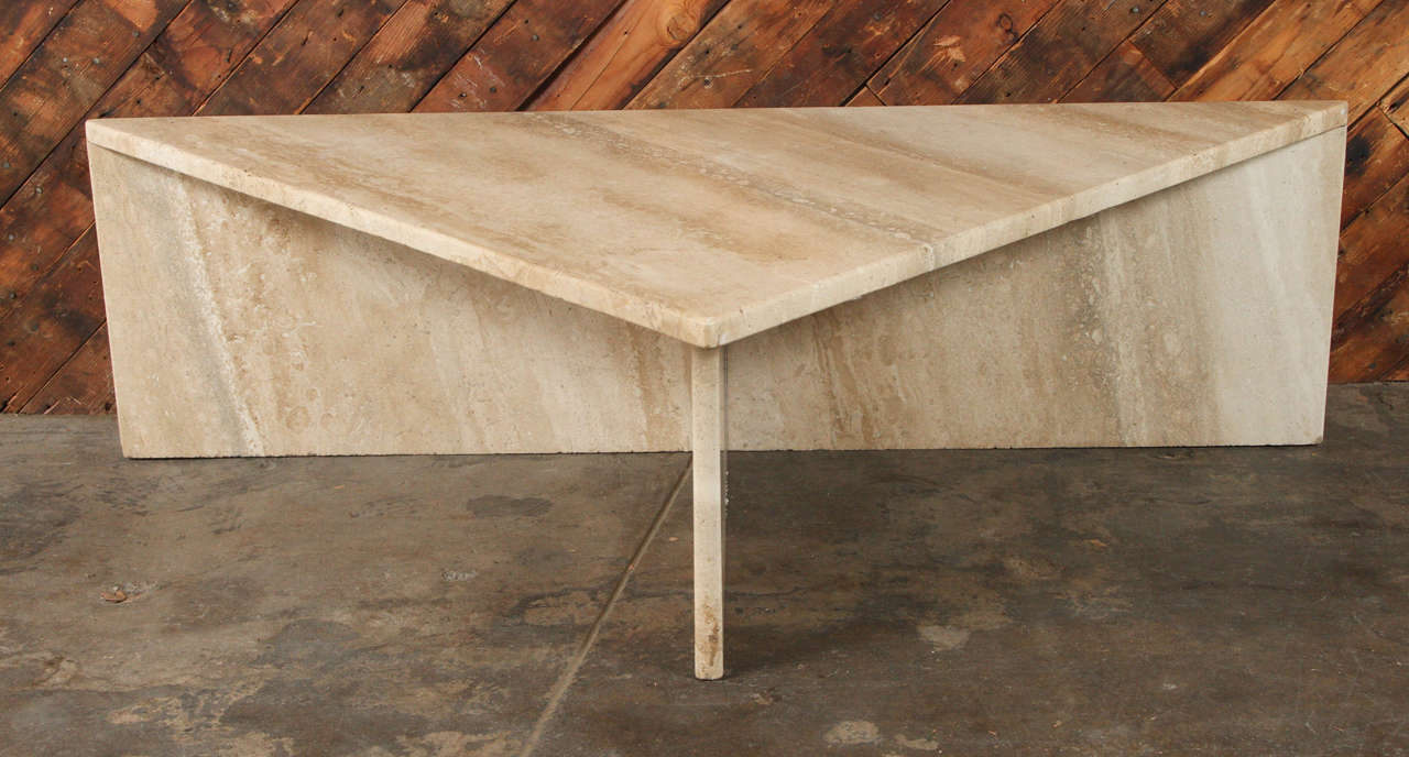 Triangle Waterfall Marble Coffee Table, Circa 1985. Stealth Bomber Shaped.  Great Design,