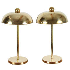 Pair Modernist brass lamps