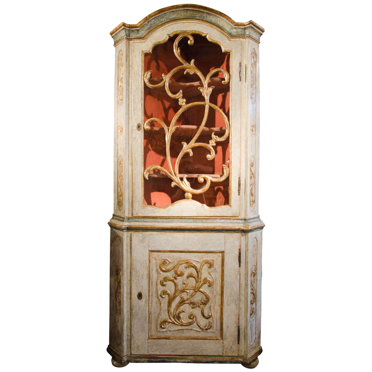 18th Century Italian Painted and Giltwood Corner Cupboard