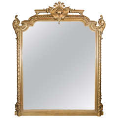 19th Century Mirror with Carved and Giltwood Frame of Substantial Size