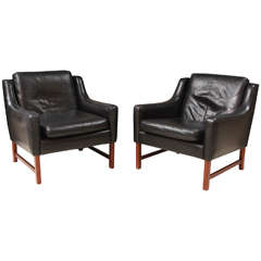 Pair of Black Leather Club Chairs by Borge Mogensen