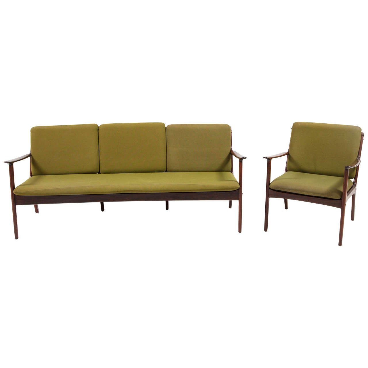 Ole Wanscher Rosewood Sofa and Chair Set 1