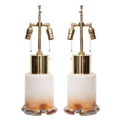 Pair of White and Amber Ombre Glass Lamps by Mazzega