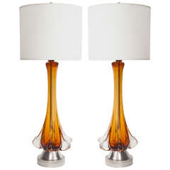 Pair of Amber Murano Glass Lamps by Seguso