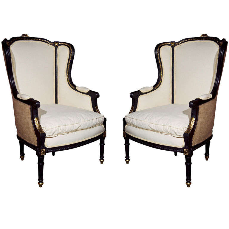 Pair of french louis xvi style wing back bergere chairs at 1stdibs