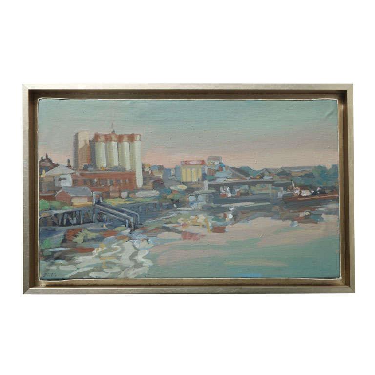 Original Hencer Molina Framed Oil on Canvas, Port Scenes of Buenos Aires