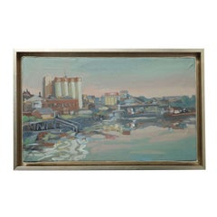 Original Hencer Molina Framed Oil on Canvas, Port Scenes of Buenos Aires