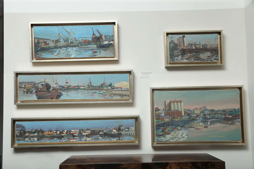 Hencer Molina Oil on Canvas, Port Scenes of Buenos Aires In Good Condition For Sale In East Hampton, NY
