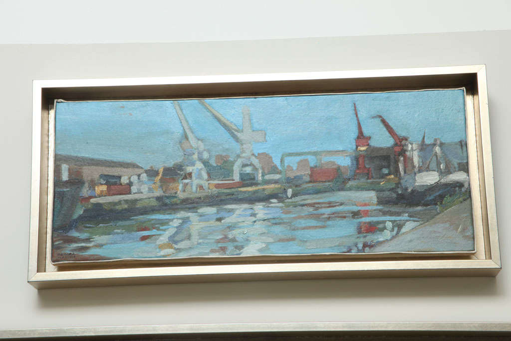 This soft tone painting of the Port of Buenos Aires by Colombian artist, Hencer Molina is a part of a series of 5 beautiful paintings (see detail images).  Hencer Molina is from Baranquilla, Colombia and arrived in Buenos Aires, Argentina at age