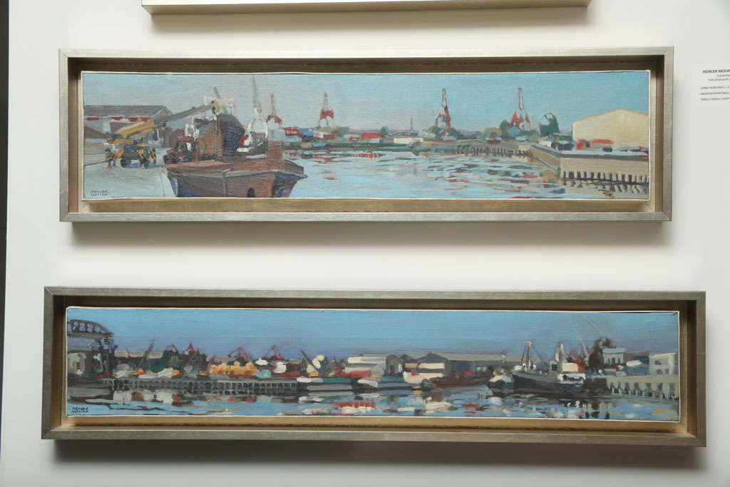 20th Century Hencer Molina Oil on Canvas, Port Scenes of Buenos Aires For Sale