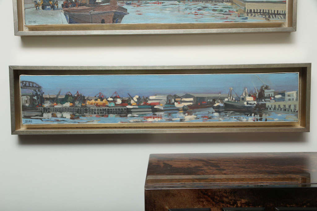 This soft tone painting of the Port of Buenos Aires by Colombian artist, Hencer Molina is a part of a series of 5 beautiful paintings (see detail images).