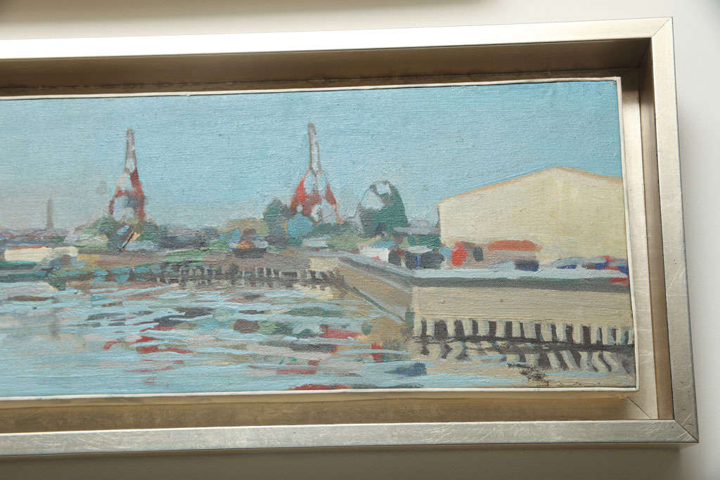 Post-Modern Hencer Molina Oil on Canvas, Port Scenes of Buenos Aires For Sale