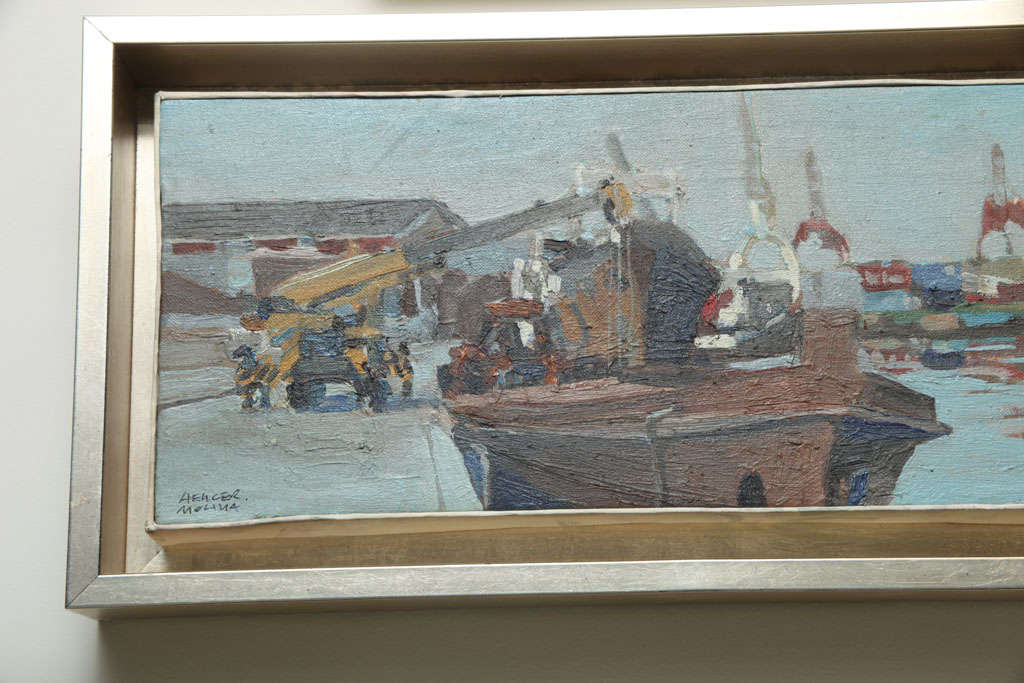 Colombian Hencer Molina Oil on Canvas, Port Scenes of Buenos Aires For Sale