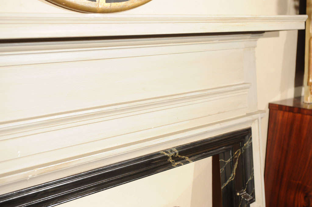 American painted and faux marble fireplace surround at 1stdibs for Faux marble fireplace mantels