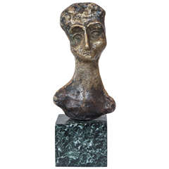 A Bronze Bust of a Woman Signed A K 63
