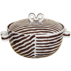 Brown and White Striped Dish with Lid by Zaccagnini Italy, circa 1954