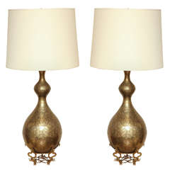 Pair of Decorative Etched Brass Lamps With Brass Stand circa 1960