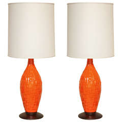 Pair of Orange Ceramic Lamps with Geometric Design, circa 1960