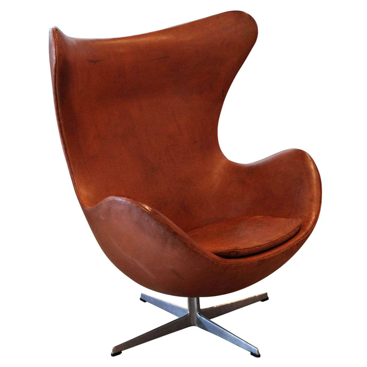 arne jacobsen cognac egg chair denmark 1969 at 1stdibs. Black Bedroom Furniture Sets. Home Design Ideas