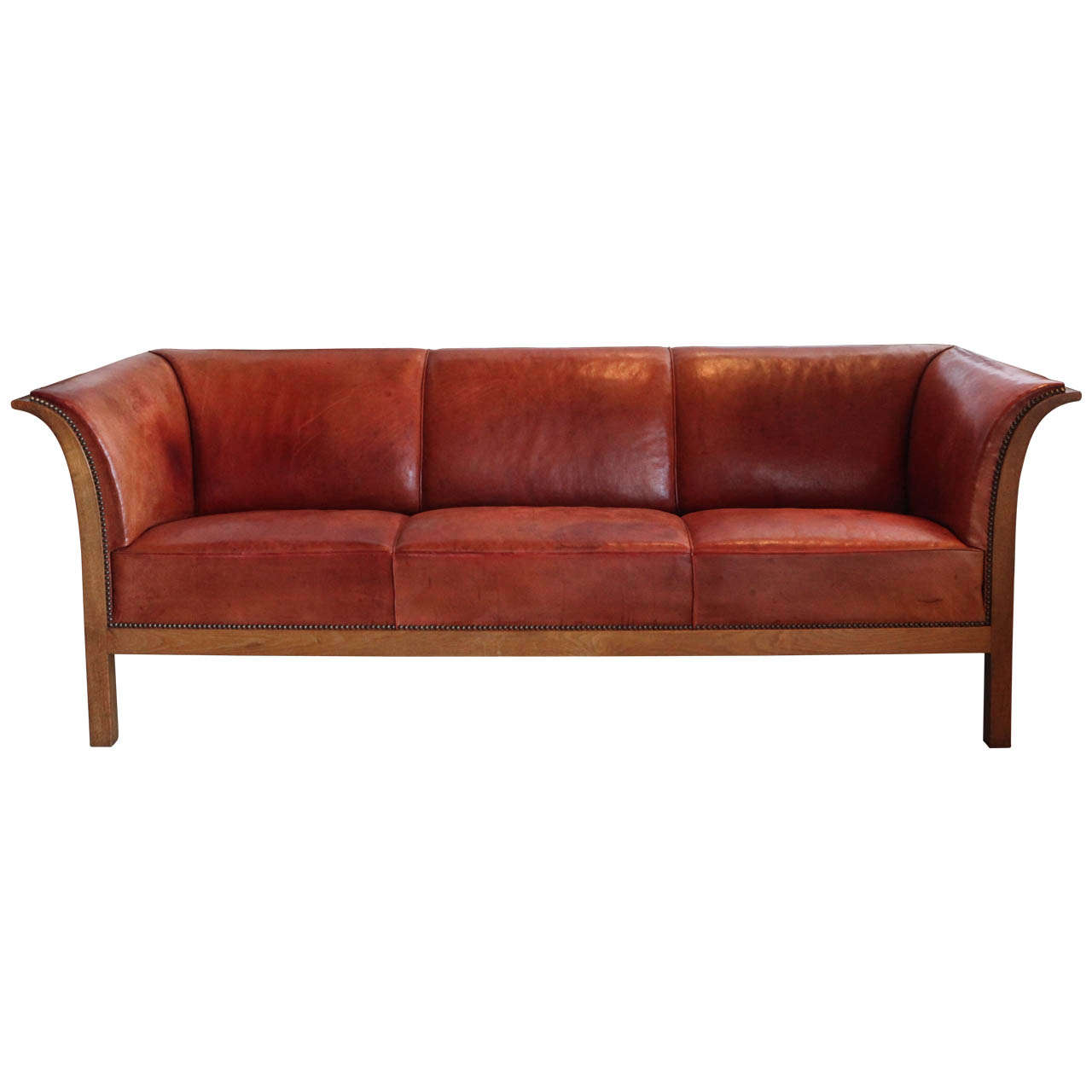 frits henningsen cognac red leather sofa denmark 1939 at. Black Bedroom Furniture Sets. Home Design Ideas