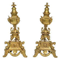 Pair Gilt Bronze Andirons in the Style of Andrea Briosco (Riccio)
